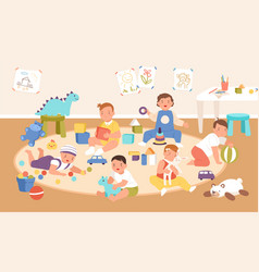 happy cute kid playing with different toys vector image