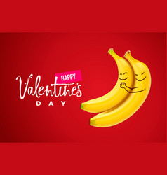 happy valentines day hand lettering on red vector image