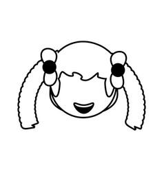 Head girl female avatar outline vector