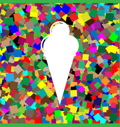 ice cream sign white icon on colorful vector image
