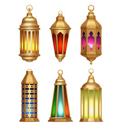 Islamic lamps ramadan lanterns arabic vintage vector