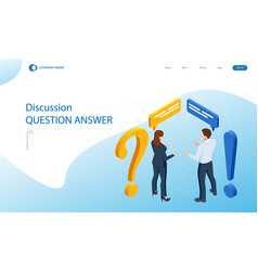Isometric question and answer concept discussion vector