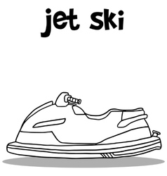 Jet ski transport hand draw vector