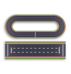 Kart race background top view line asphalt and vector