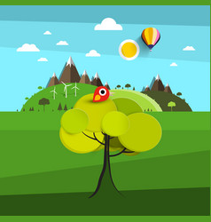 landscape with bird on tree and hills on vector image