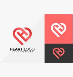 Letter h heart love logo design modern logo vector