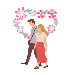 Man and woman happy couple in love floral heart vector