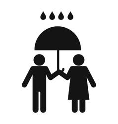 man and woman under umbrella vector image