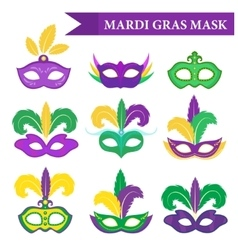 Mardi Gras mask set design element flat style vector