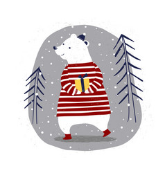 merry christmas card with polar bear with a gift vector image