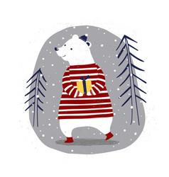 Merry christmas card with polar bear with a gift vector