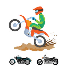 motorbike riding man on bike ground with dirt vector image