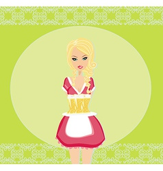 Oktoberfest waitress with beers on a tray - card vector image