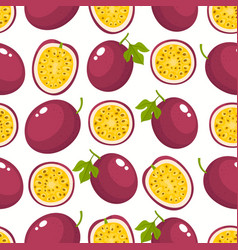 Pattern with cartoon passion fruits vector