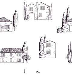 pattern with houses tuscany vector image