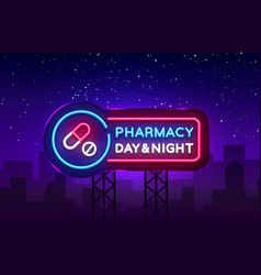 Pharmacy neon signboard medical neon vector