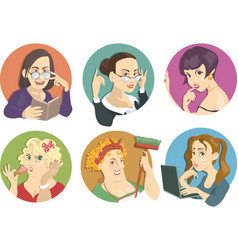 portraits of women vector image