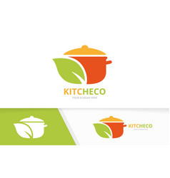 pot and leaf logo combination kitchen and vector image