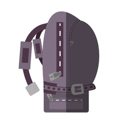 purple backpack hike traveler side view shadow vector image