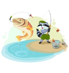 Raccoon scout fishing Fisherman caught big fish vector