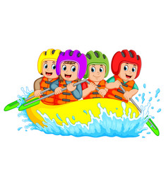 Rafting team splashing the waves vector