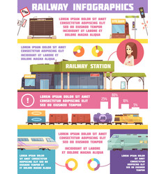 Railway infographics flat template vector