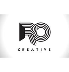Ro logo letter with black lines design line letter vector