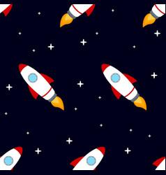 rocket space ship seamless pattern vector image