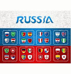 Russia soccer event group list template design vector