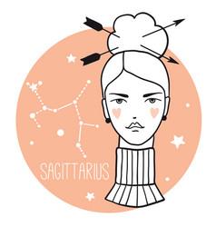 sagittarius girl sketch style woman with zodiac vector image