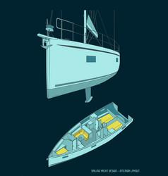 sailing yacht and its interior layout vector image
