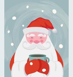 santa drinking a hot drink at winter scenary vector image