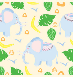 seamless pattern with elephant in scandinavian sty vector image