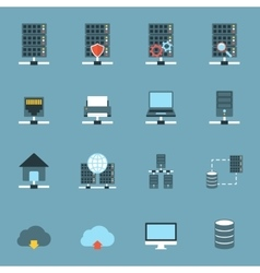 Server Hosting Icons Flat vector