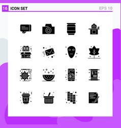 Set 16 solid glyphs on grid for cardboard book vector
