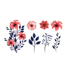 set beauty flowers plants with exotic branches vector image