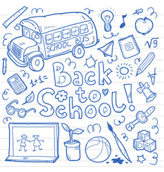 Set of doodle back to school elements vector
