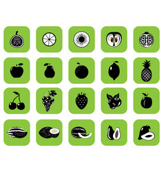 set of fruits and vegetables black vector image