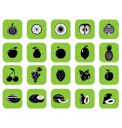 set of fruits and vegetables black vector image