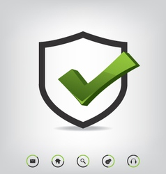 Shield check mark and web icons vector image
