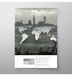 Shipyard and city landscape world map vector