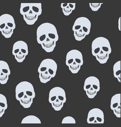 Skulls on black seamless pattern endless texture vector