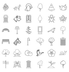 Small park icons set outline style vector