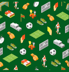 soccer sport game signs 3d seamless pattern vector image