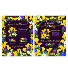 Spring poster with flower frame and blooming plant vector