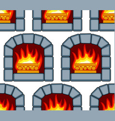 stone fireplace pattern vector image