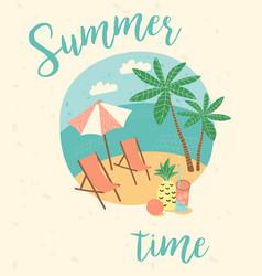 Summer vacation flat cartoon retro vector