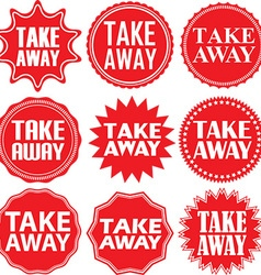 Take away red label Take away red sign Take away vector