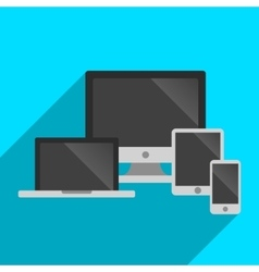 technology and devices icons set longshadow vector image
