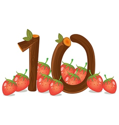 Ten strawberries vector